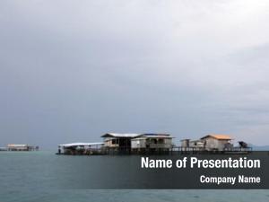 Sea trading post off coast