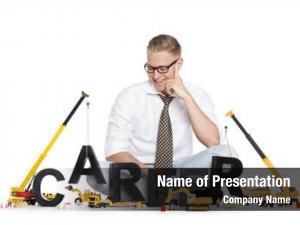 Concept: build career smiling businessman