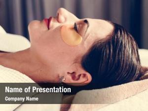 Golden woman relaxing eye mask