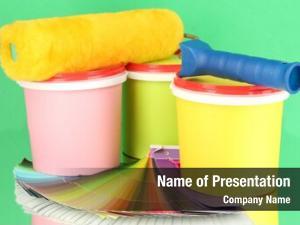 Paint set painting: pots, paint roller,