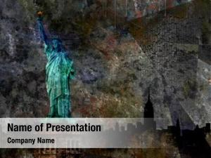 Grunge statue liberty background illustration