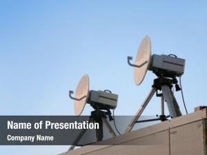 Satellite telecommunications two parabolic antenna