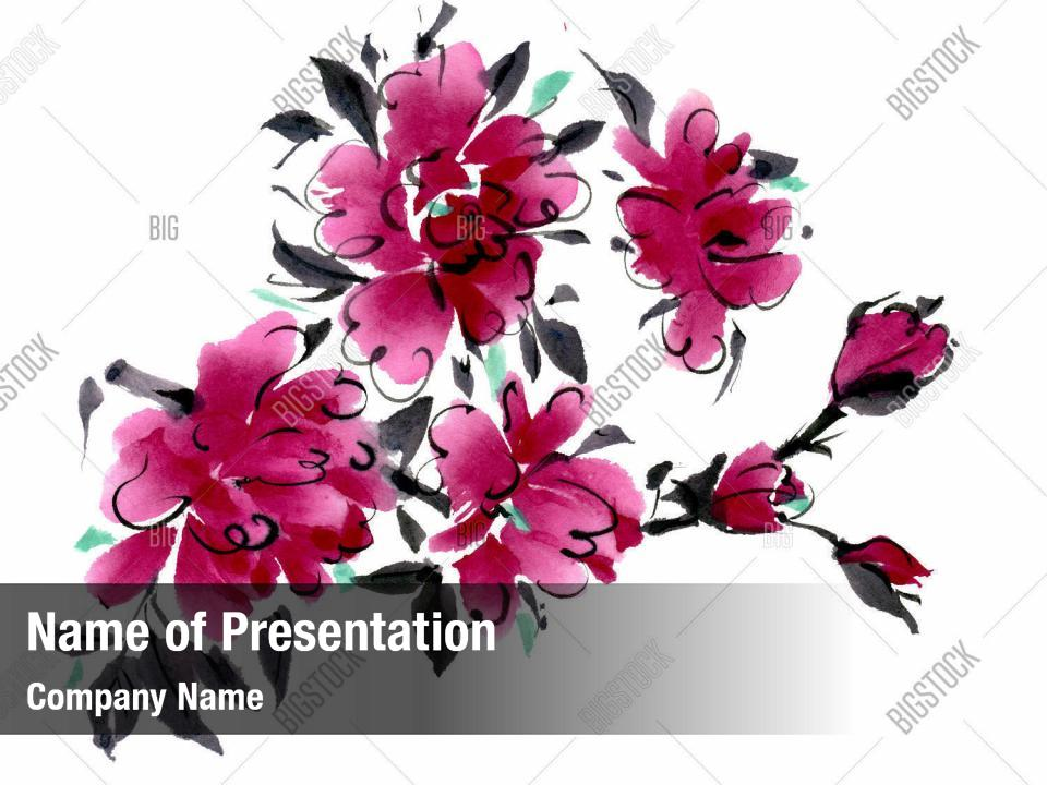 Watercolor flowers powerpoint theme PowerPoint Template