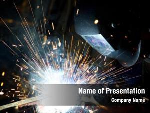 Bright welder action sparks