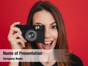 Happy professional photographer