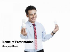 Light businessman comparing bulb energy