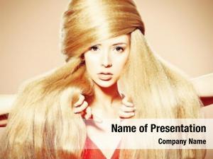 Woman beautiful blonde fashionable hairstyle