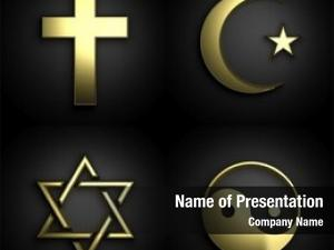 Golden religious symbols, set black