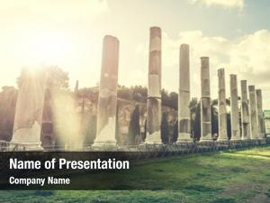 Roman ancient columns temple near