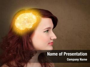 Thinking young girl glowing brain