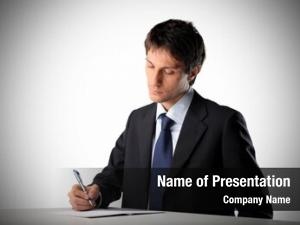 Document businessman signing