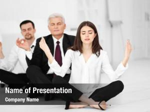 Relaxing business people meditation pose