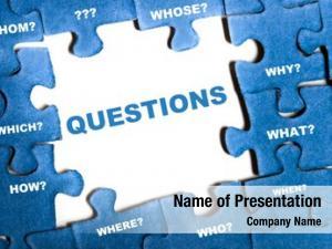 Puzzle questions blue pieces assembled