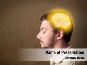 Thinking young man glowing brain