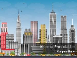 Usa new york skyline gray