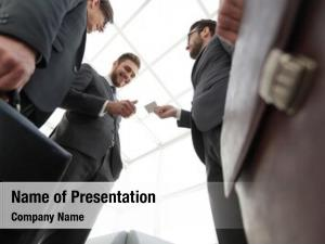 Exchanging business executive business cards
