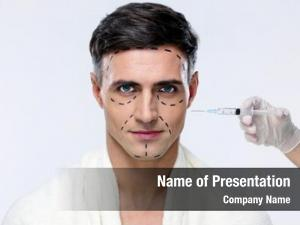 Surgery man plastic syringe his