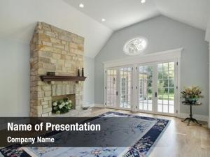 Stone family room fireplace