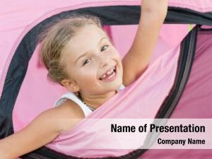 Happy camping tent girl camp