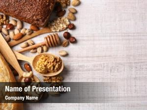 Bread, healthy breakfast honey, nuts