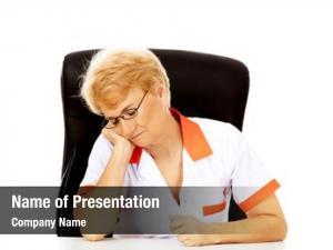Female tired elderly doctor nurse