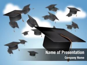 Thrown graduation caps air