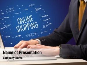 Laptop businessman working online shopping