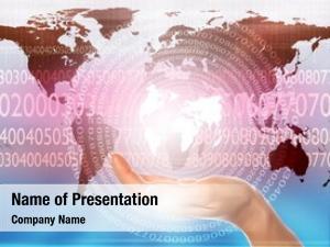 Communication world map technology symbols