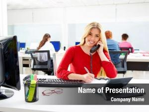 Woman blond business call center
