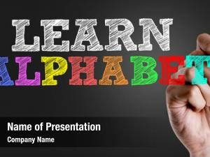 Text: hand writing learn alphabet