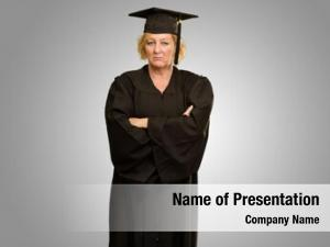 Woman sad graduate grey background