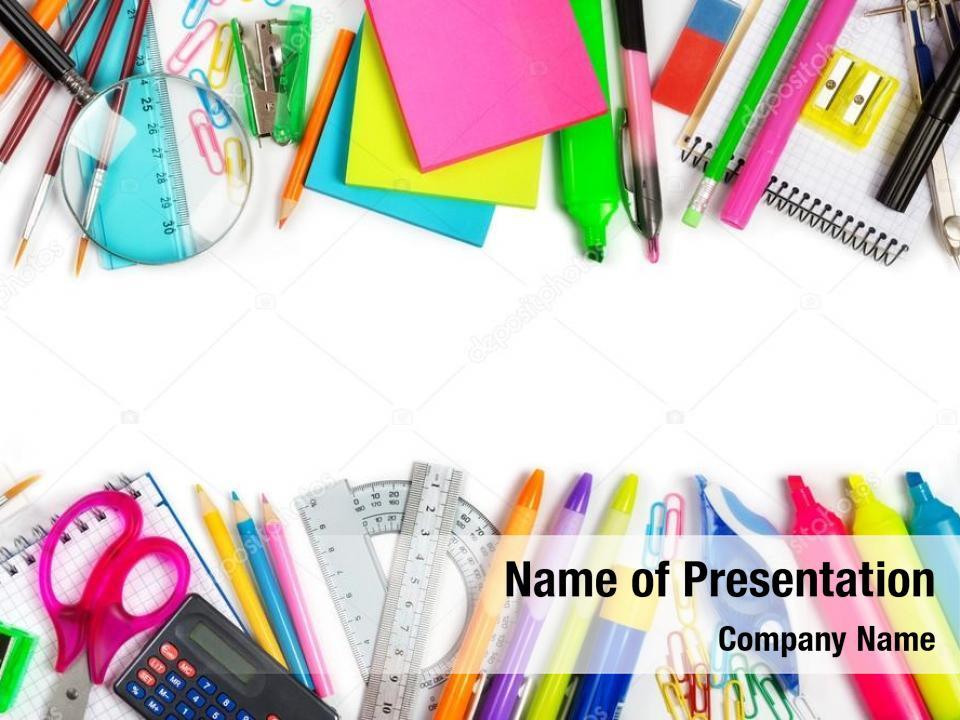 School supplies PowerPoint Template - School supplies PowerPoint