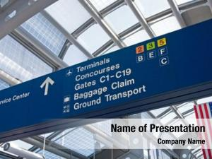Signs airport directional leading passengers