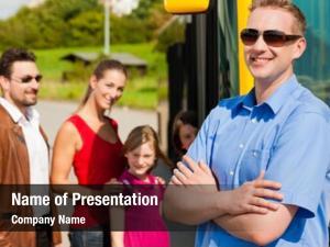 Bus passengers boarding bus station;